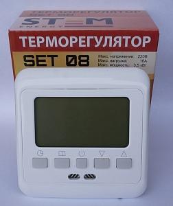 Программируемый терморегулятор SET 08с датчиком пола и воздуха